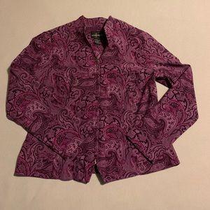 Jacket, Zip up Paisley Plum M